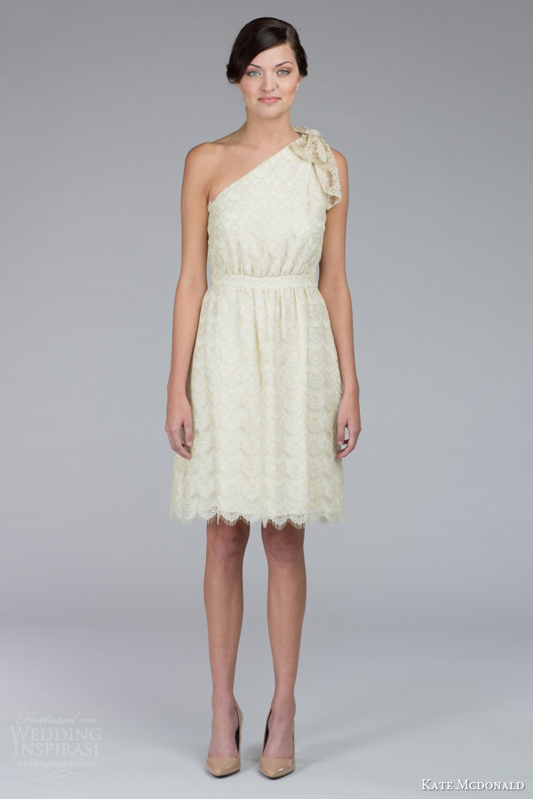 kate mcdonald bridal fall 2015 cameron one shoulder bow front mini short lace wedding dress scalloped hem