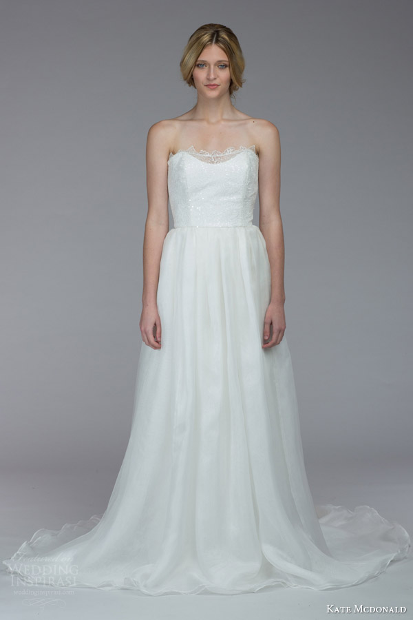 kate mcdonald bridal fall 2015 drayton strapless wedding dress lace neckline