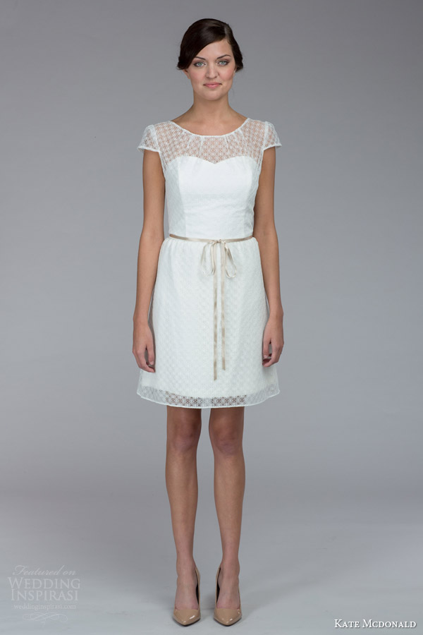 kate mcdonald bridal fall 2015 erin cap sleeve mini wedding dress
