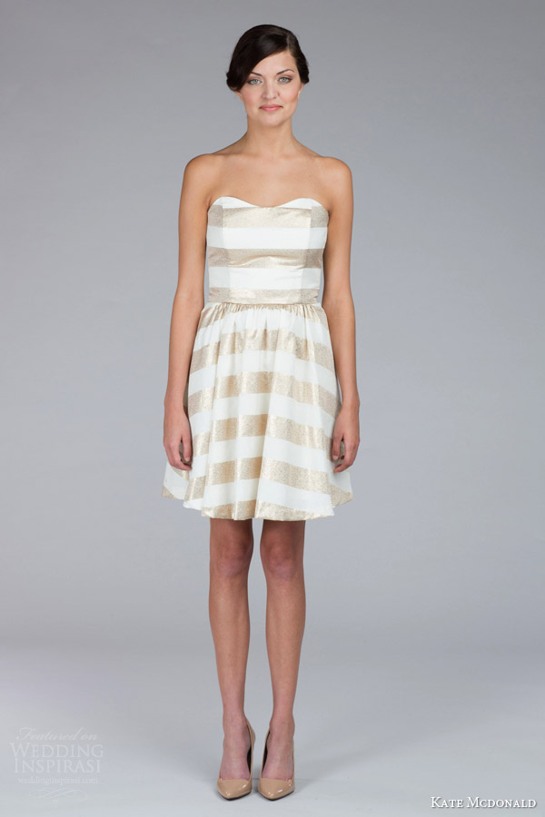 kate mcdonald bridal fall 2015 gold nancy strapless sweetheart mini wedding dress stripe