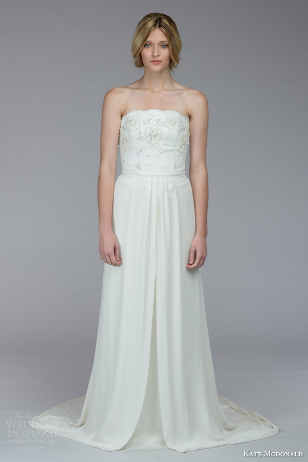 kate mcdonald bridal fall 2015 heyward strapless wedding dress embellished bodice