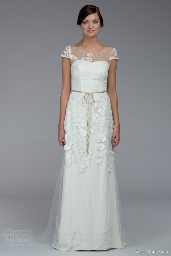 kate mcdonald bridal fall 2015 lamour illusion cap sleeve wedding dress sheer overlay skirt