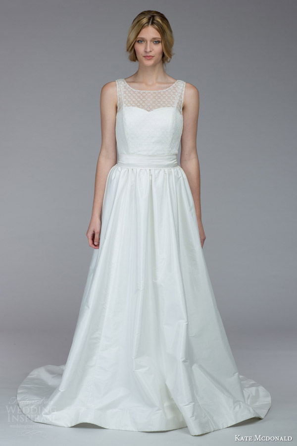 kate mcdonald bridal fall 2015 lanier sleeveless wedding dress illusion neckline