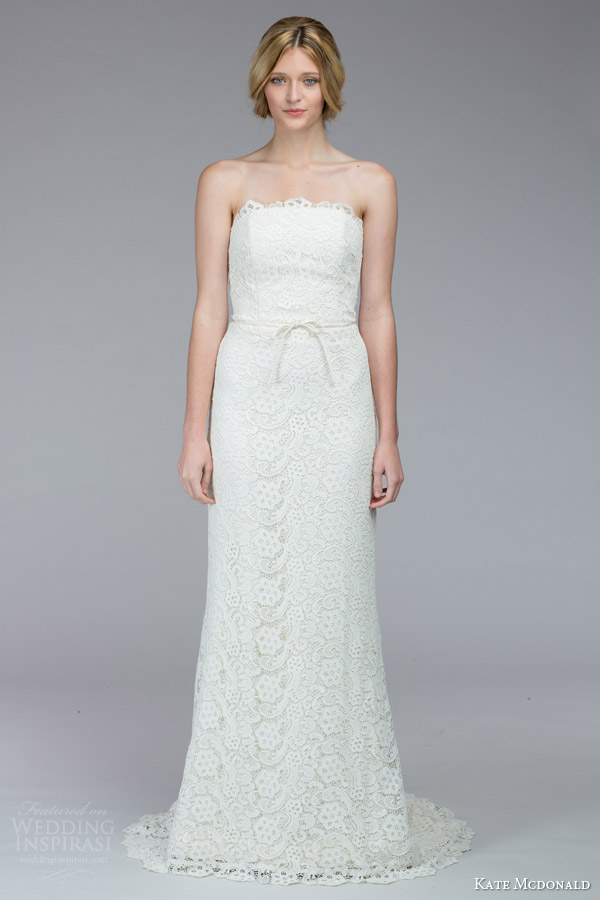 kate mcdonald bridal fall 2015 lassiter strapless lace wedding dress
