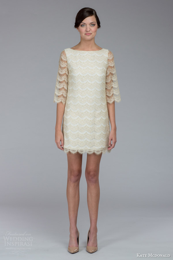 kate mcdonald bridal fall 2015 lindsey lace shift mini wedding dress scalloped hem three quarter sleeves