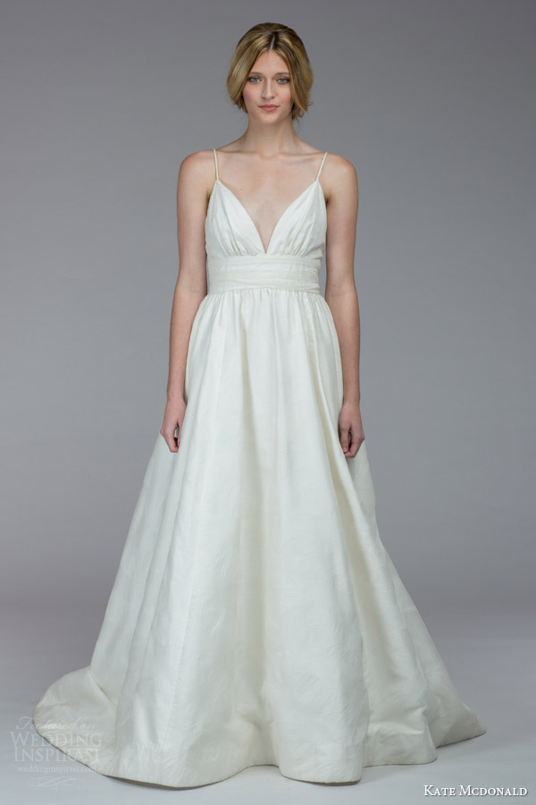 kate mcdonald bridal fall 2015 mackenzie sleeveless a line wedding dress spaghetti straps