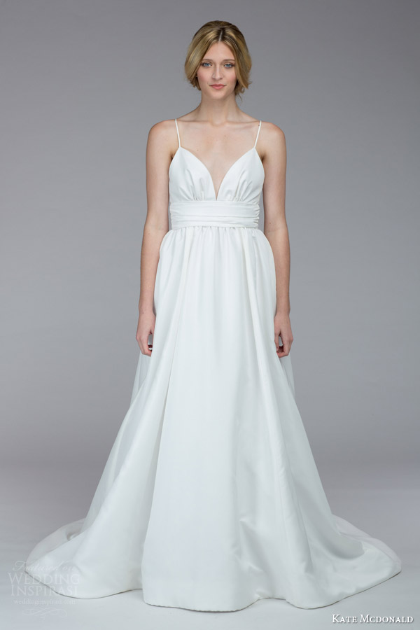 kate mcdonald bridal fall 2015 mccants sleeveless wedding dress spaghetti straps a line silhouette