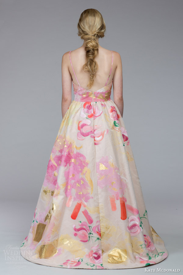 kate mcdonald bridal fall 2015 mcleod floral print wedding dress sleeveless spaghetti straps a line silhoutte back view