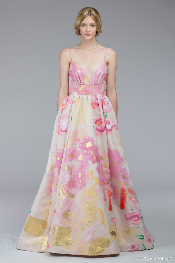 kate mcdonald bridal fall 2015 mcleod floral print wedding dress sleeveless spaghetti straps a line silhoutte