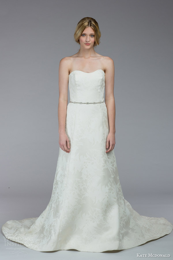 kate mcdonald bridal fall 2015 middleton strapless wedding dress belt