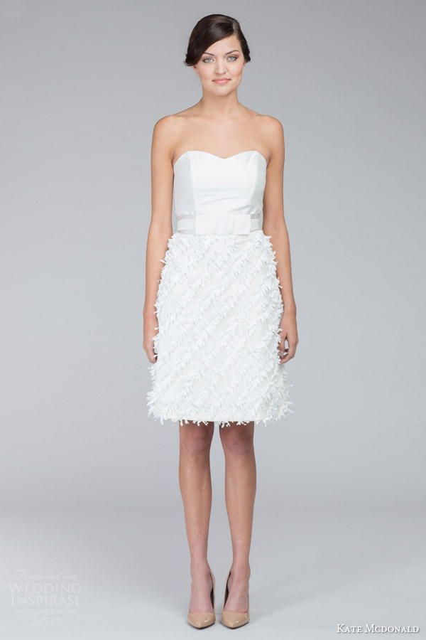 kate mcdonald bridal fall 2015 pearl tulle strapless sweetheart mini wedding dress fringe skirt