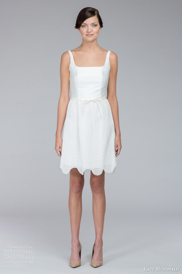 kate mcdonald bridal fall 2015 pippa sleeveless mini wedding dress scalloped hem skirt