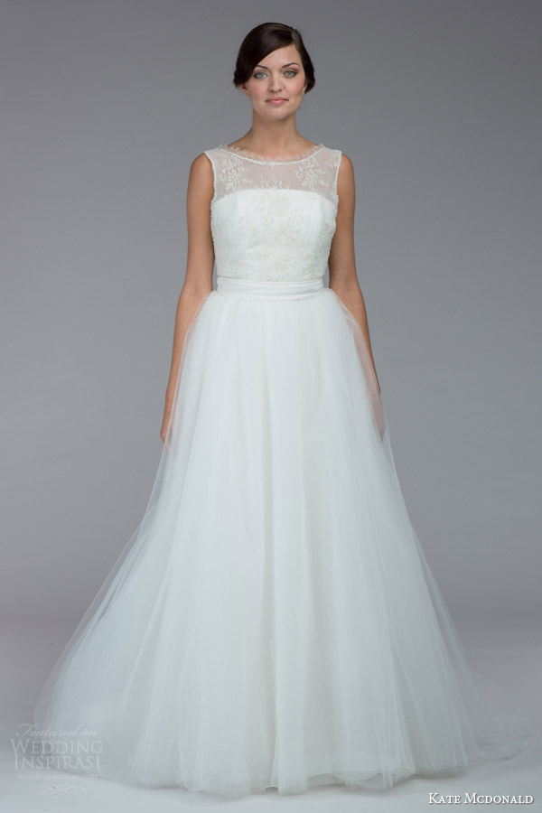 kate mcdonald bridal fall 2015 pollitzer sleeveless wedding dress illusion neckline bateau eyelash lace tulle over skirt