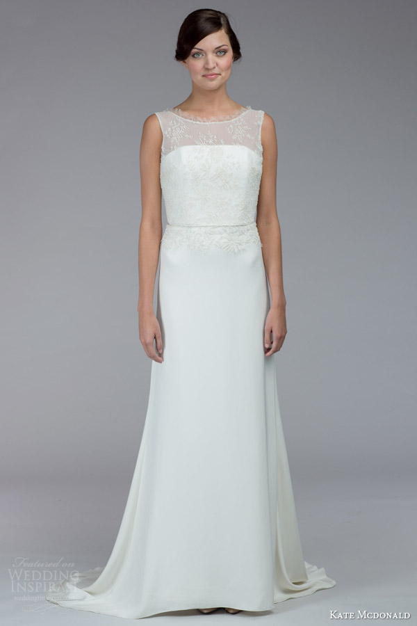 kate mcdonald bridal fall 2015 pollitzer sleeveless wedding dress illusion neckline bateau eyelash lace