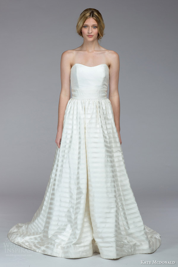 kate mcdonald bridal fall 2015 powell strapless wedding dress stripe skirt
