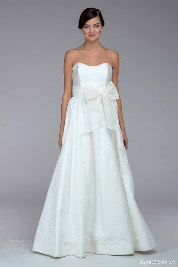 kate mcdonald bridal fall 2015 roberts strapless wedding dress bow front skirt
