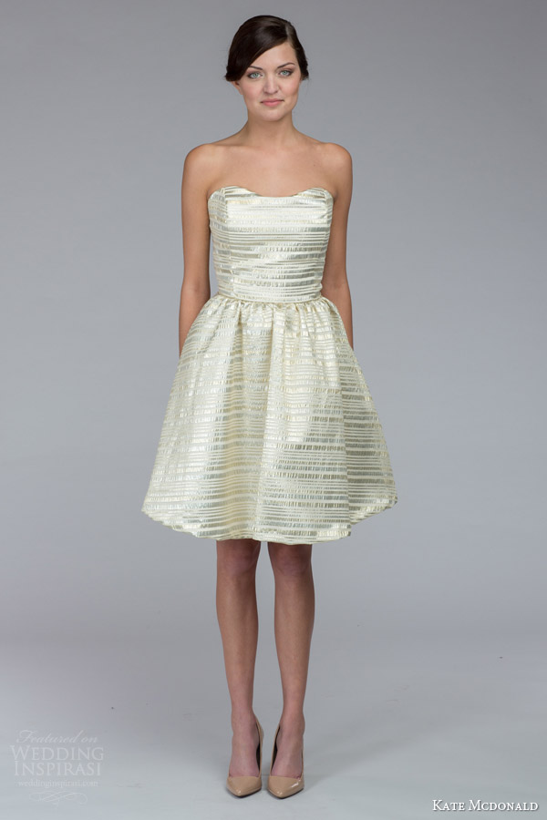 kate mcdonald bridal fall 2015 samantha strapless sweetheart gold stripe wedding dress