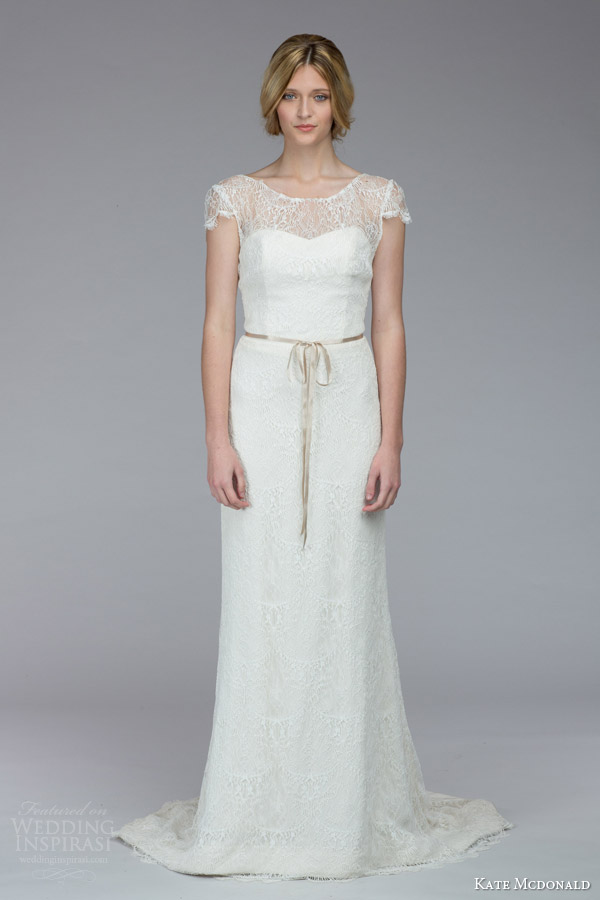 kate mcdonald bridal fall 2015 stanwyck illusion cap sleeve lace sheath wedding dress