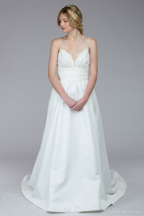 kate mcdonald bridal fall 2015 stephens sleeveless wedding dress spaghetti straps ruched bodice cummerbund