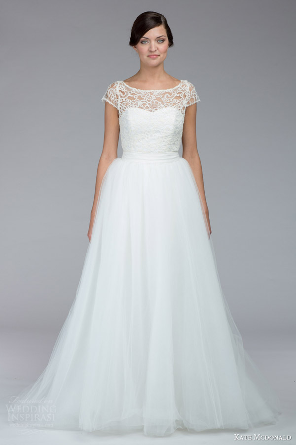 kate mcdonald bridal fall 2015 tierney illusion cap sleeve lace knee length wedding dress a line tulle over skirt
