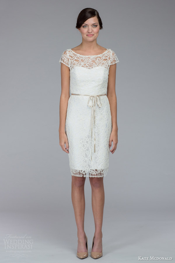 kate mcdonald bridal fall 2015 tierney illusion cap sleeve lace knee length wedding dress