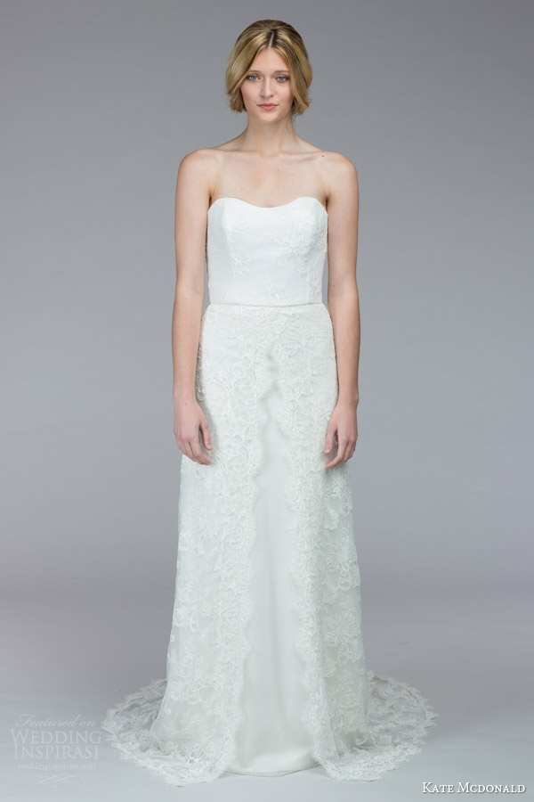 kate mcdonald bridal fall 2015 waring strapless lace wedding dress sweetheart neckline