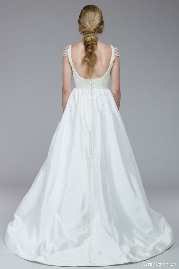 kate mcdonald bridal fall 2015 wintour illusion cap sleeve ball gown wedding dress sequin bodice back view train