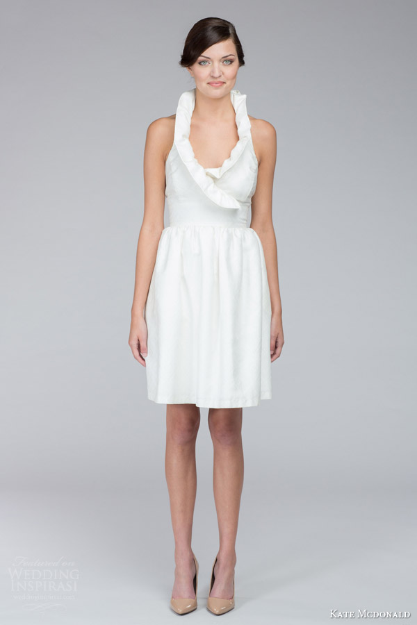 kate mcdonald bridal fall 2015 zoe textured sleeveless mini short wedding dress raised collar