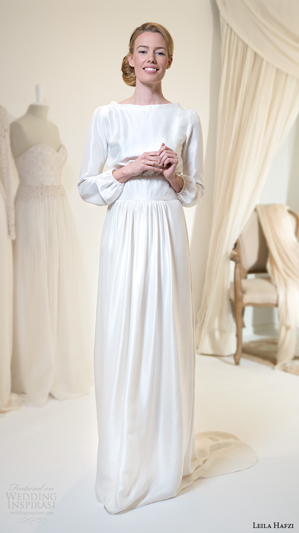 Simple Long Wedding Dresses 12 Simple leila hafiz wedding dresses