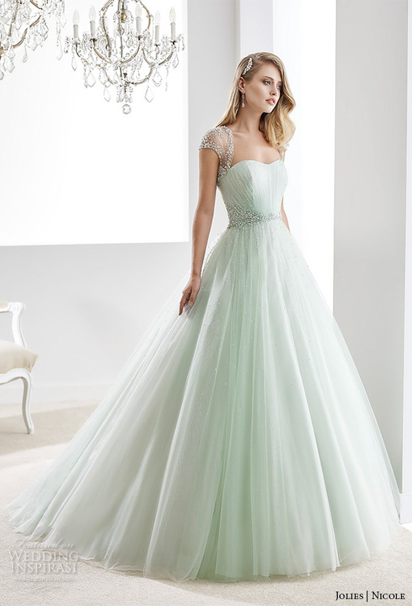 dd35d00f1 nicole jolies 2016 wedding dresses beaded sheer cap sleeves sweetheart  neckline pastel green tulle a line