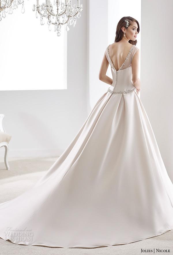 nicole jolies 2016 wedding dresses sleeveless sheer boat neckline satin a line wedding dress joab16489 back up