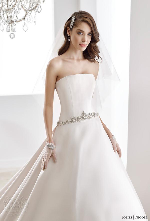 nicole jolies 2016 wedding dresses sleeveless sheer boat neckline satin a line wedding dress joab16489 close up