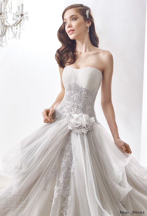 Ball Gown Wedding Dresses With Color : Nicole jolies collection colored wedding dresses