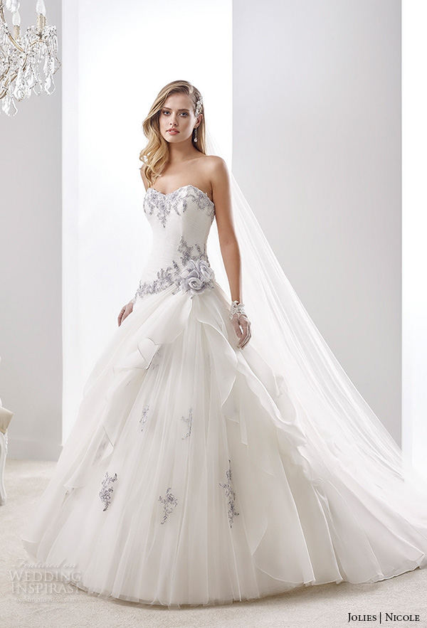 Nicole jolies collection 2016 colored wedding dresses for White wedding dress with blue accents