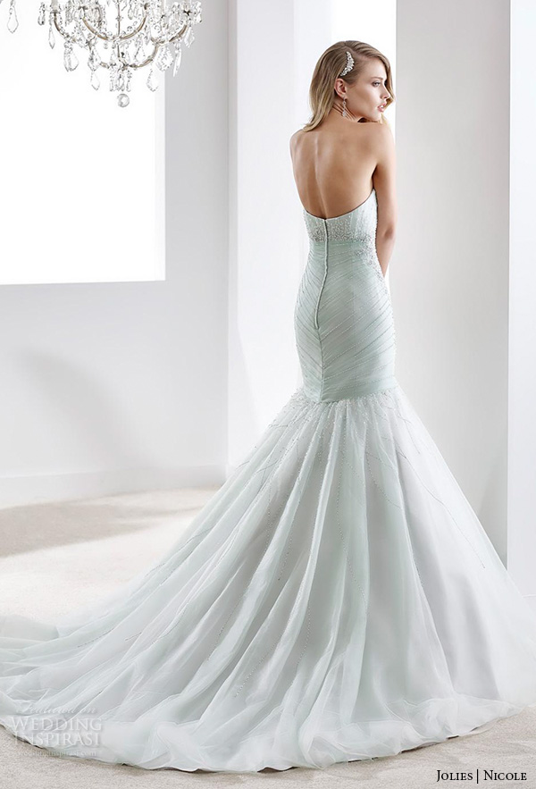 nicole jolies 2016 wedding dresses strapless sweetheart neckline elegant mint green mermaid wedding dress joab1624 back view