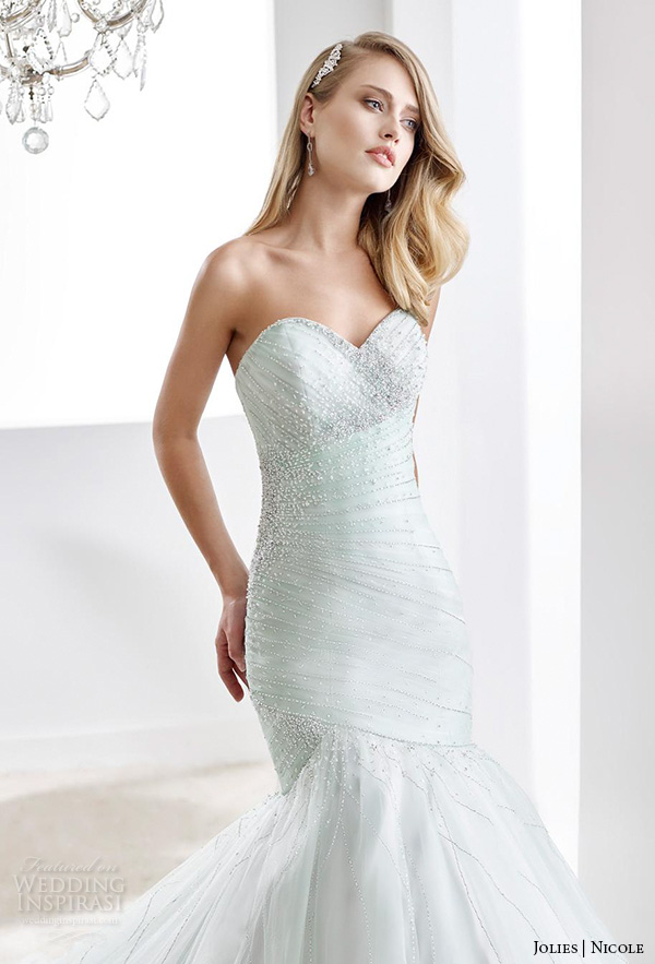 nicole jolies 2016 wedding dresses strapless sweetheart neckline elegant mint green mermaid wedding dress joab1624 close up