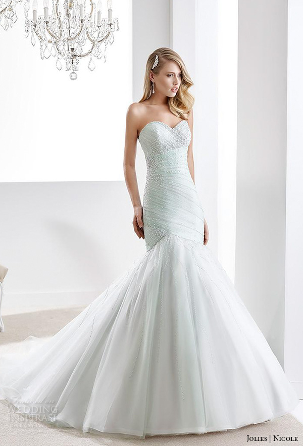 nicole jolies 2016 wedding dresses strapless sweetheart neckline elegant mint green mermaid wedding dress joab1624