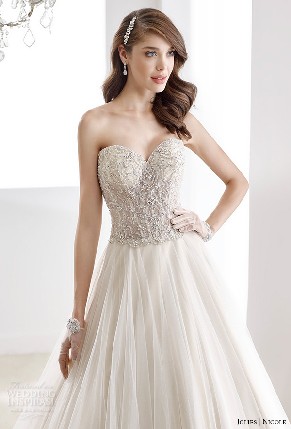 nicole jolies 2016 wedding dresses strapless sweetheart neckline embroidered bodice stunning champagne tulle a line wedding dress joab16413 close up