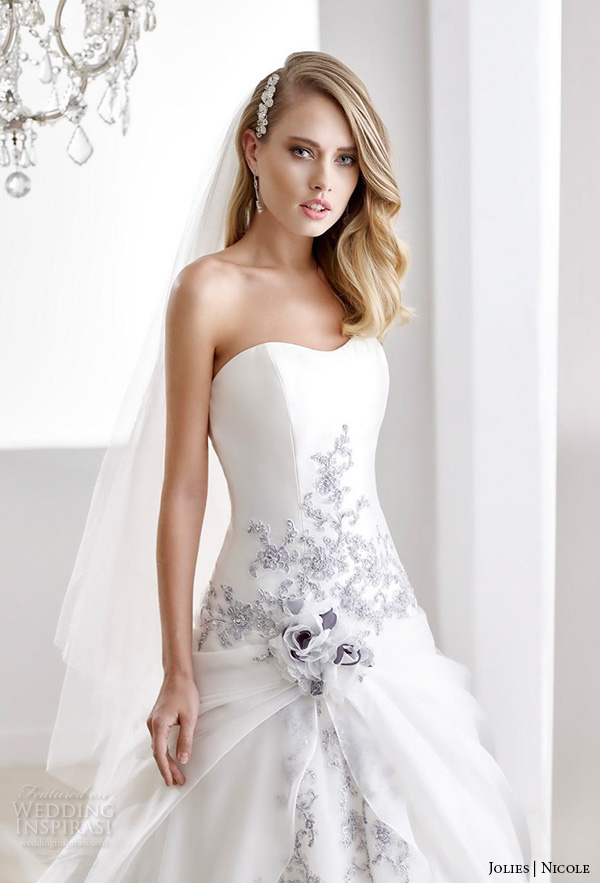 Wedding dresses with blue color accents high cut wedding for Wedding dress with color accent