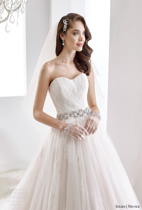 nicole jolies 2016 wedding dresses strapless sweetheart neckline pretty tulle wedding dress joab16519 close up