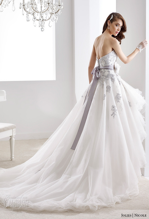 Nicole jolies collection 2016 colored wedding dresses for Wedding dress with purple embroidery