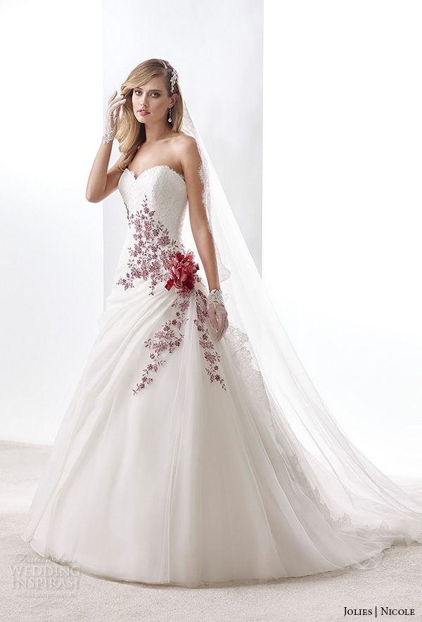 wedding dress with red accents | Wedding
