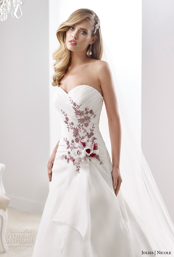 Nicole Jolies 2016 Wedding Dresses Strapless Sweetheart Neckline Red Accent Pretty A Line Dress Joab16467