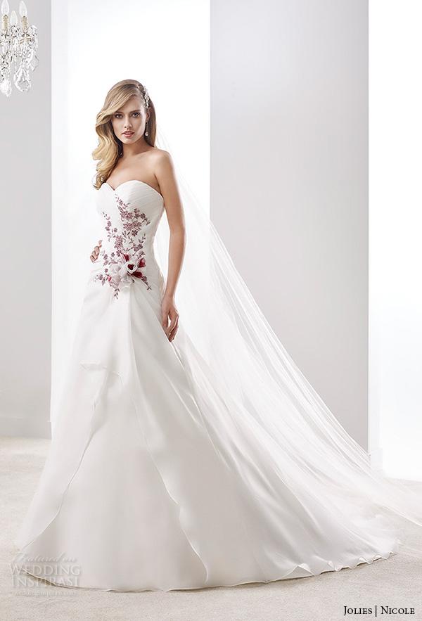 nicole jolies 2016 wedding dresses strapless sweetheart neckline red accent pretty a line wedding dress joab16467