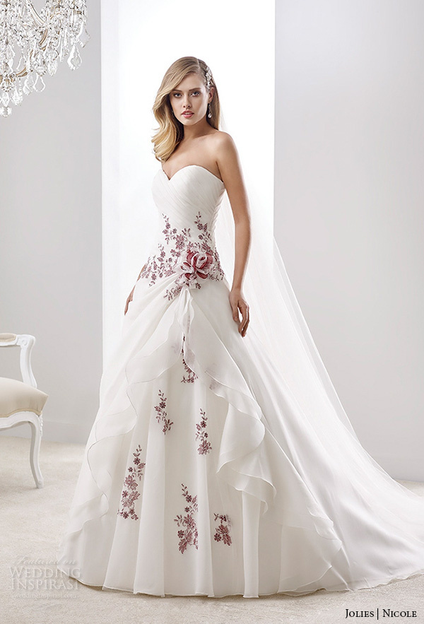 nicole jolies collection 2016 colored wedding dresses