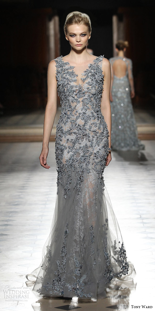 tony ward couture fall winter 2015 2016 look 12 sleeveless gray embroidered dress sheer skirt