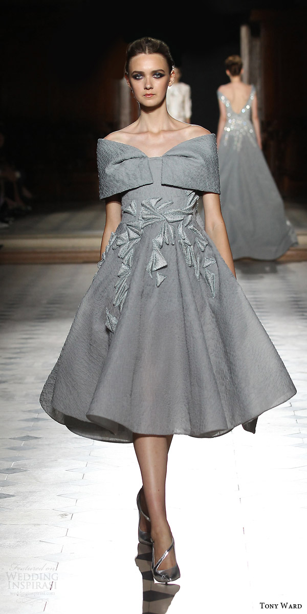 tony ward couture fall winter 2015 2016 look 14 off shoulder knee length dress gray grey applique