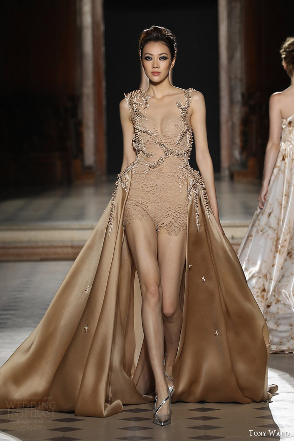 tony ward couture fall winter 2015 2016 look 17 sleeveless playsuit over skirt