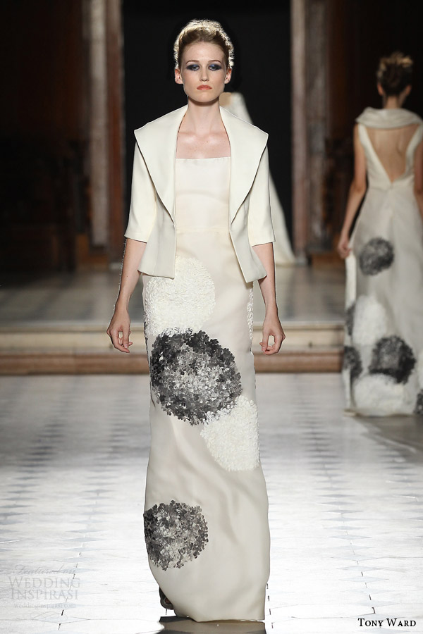 tony ward couture fall winter 2015 2016 look 29 haute couture column dress half sleeve jacket
