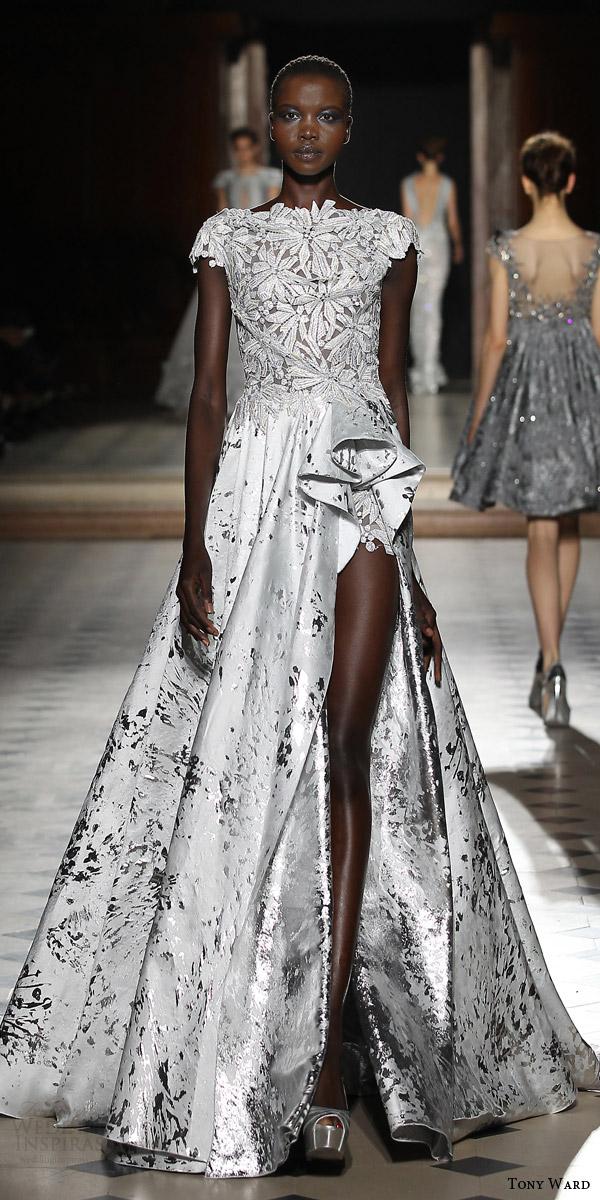 tony ward couture fall winter 2015 2016 look 36 cap sleeve haute couture wedding dress slit metallic skirt
